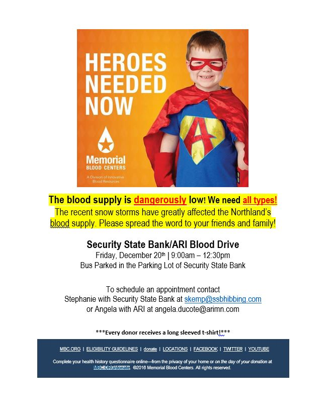Memorial Blood Blood Center ad encouraging blood donations.