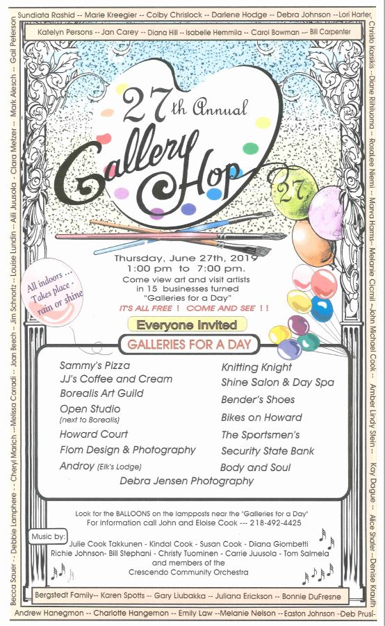 27th Annual Gallery Hop takes place June 27th, 2019.