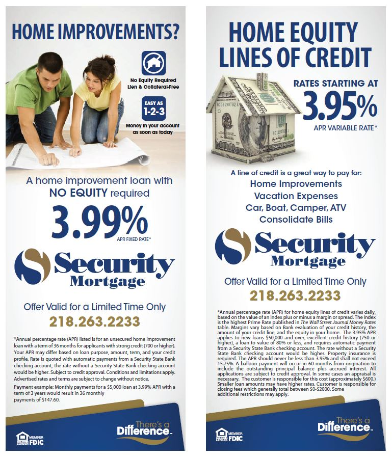 Photo of Home Improvement and Home Equity Line of Credit Flyer