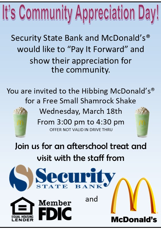 Image of Security State Bank and McDonald's Shamrock Shake Flyer.
